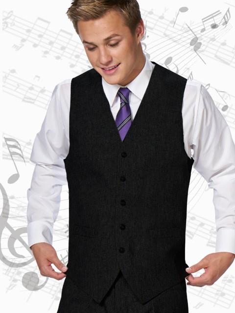 Black Modern fit 5 button vest